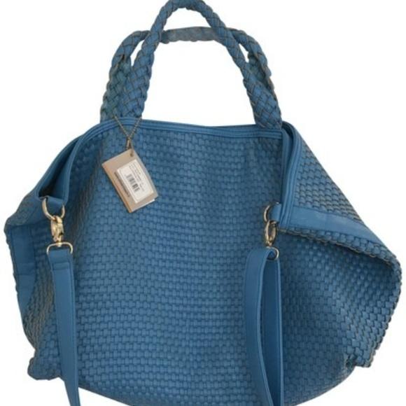 Handbags - Blue woven bag with long strap